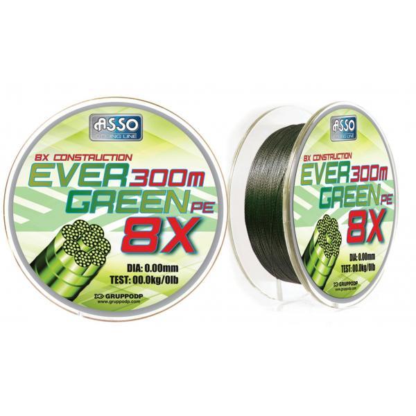 ASSO Evergreen PE X8 0,08mm/130m 6,2kg - fonott zsinór