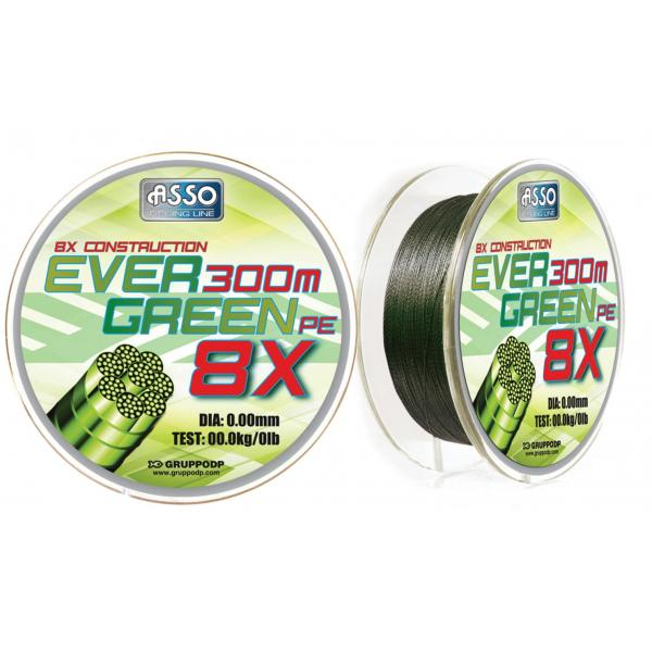 ASSO PE8X evergreen 130m 0,32mm 27,2kg fonott zsínór