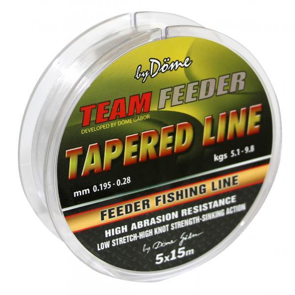 By Döme Team Feeder Tapered Line 5x15m 0,18-0,20mm - dobóelőke