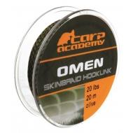 CARP ACADEMY Omen Skinbraid olive- 20m / 20lbs bevonatos előkezsinór