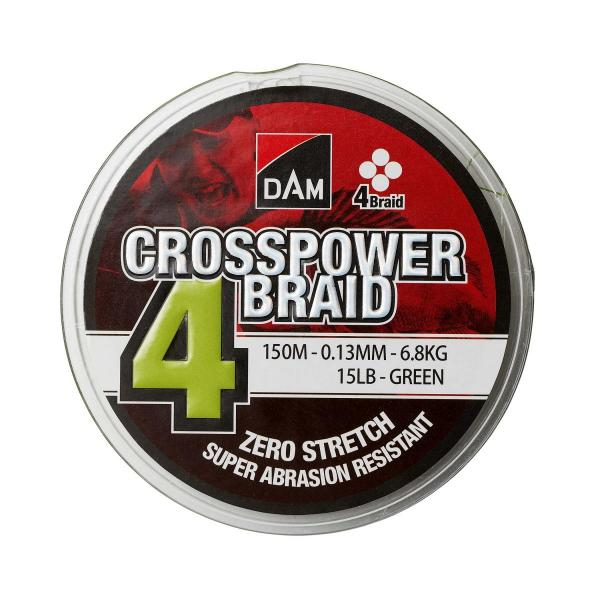 D.A.M CROSSPOWER 4-braid 150m 0,17mm 9,0kg fonott zsinór