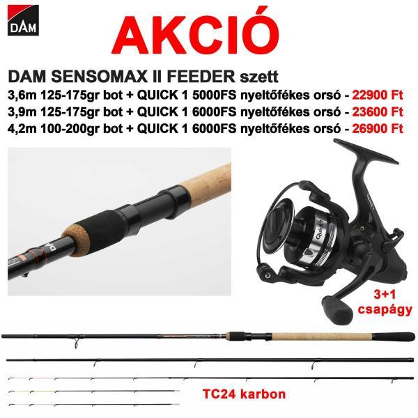 EUROSTAR  DAM Sensomax Feeder bot+D.A.M QUICK 1 6000FS 3+1 csapágyas, nyeletőfékes orsó