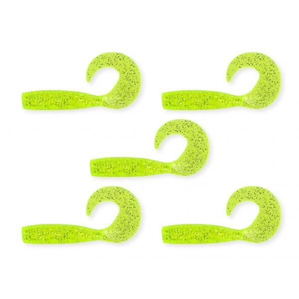 NEVIS Twister 7,5cm  5db/cs fluo zöld-csillám